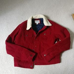 Forever 21 Red Cordoroy truckers jacket